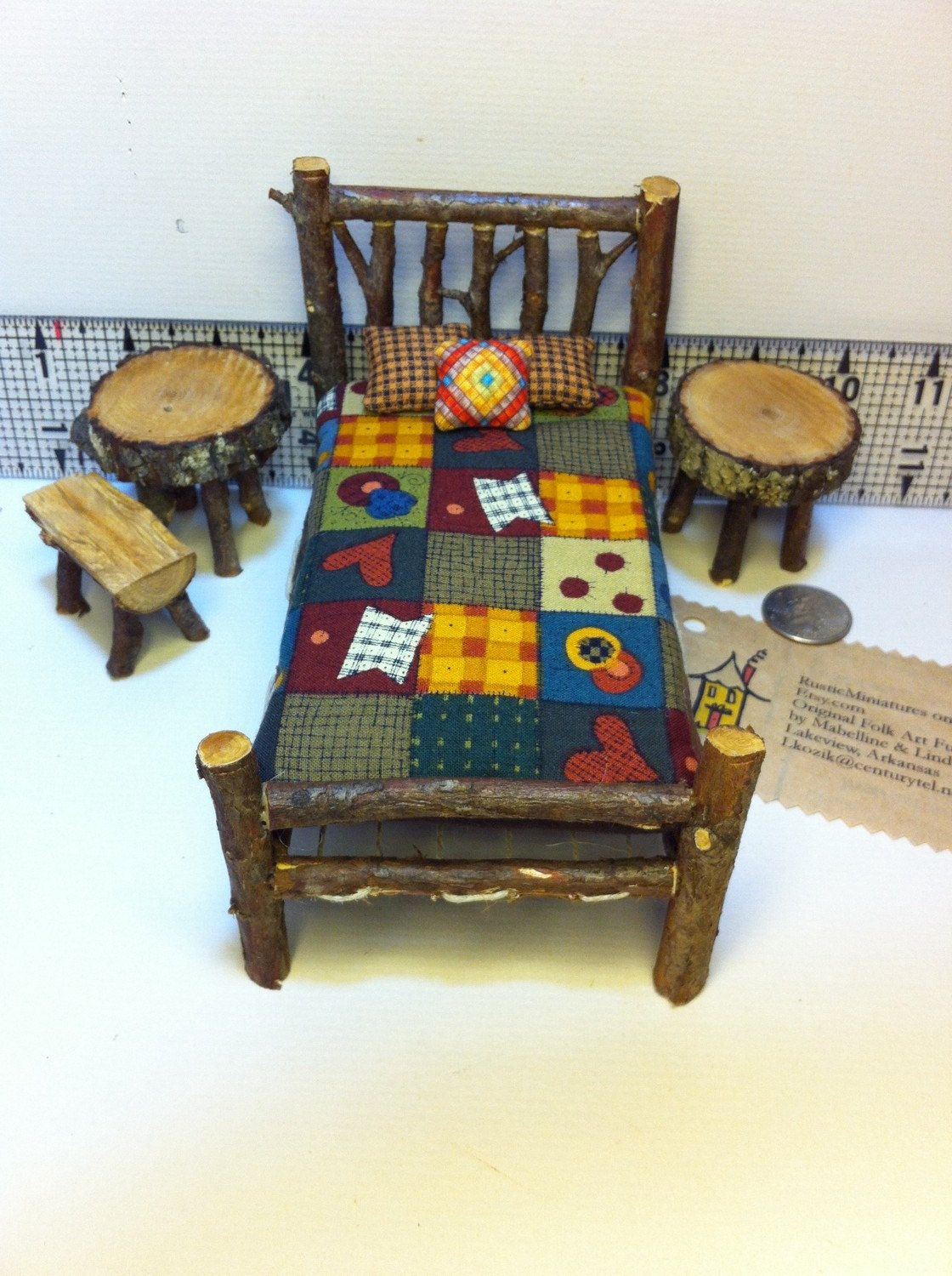 Miniature Dollhouse Bedroom Furniture Fall Colors 1 Inch Scale 8 Piece Rustic Miniature Dollhouse Dh