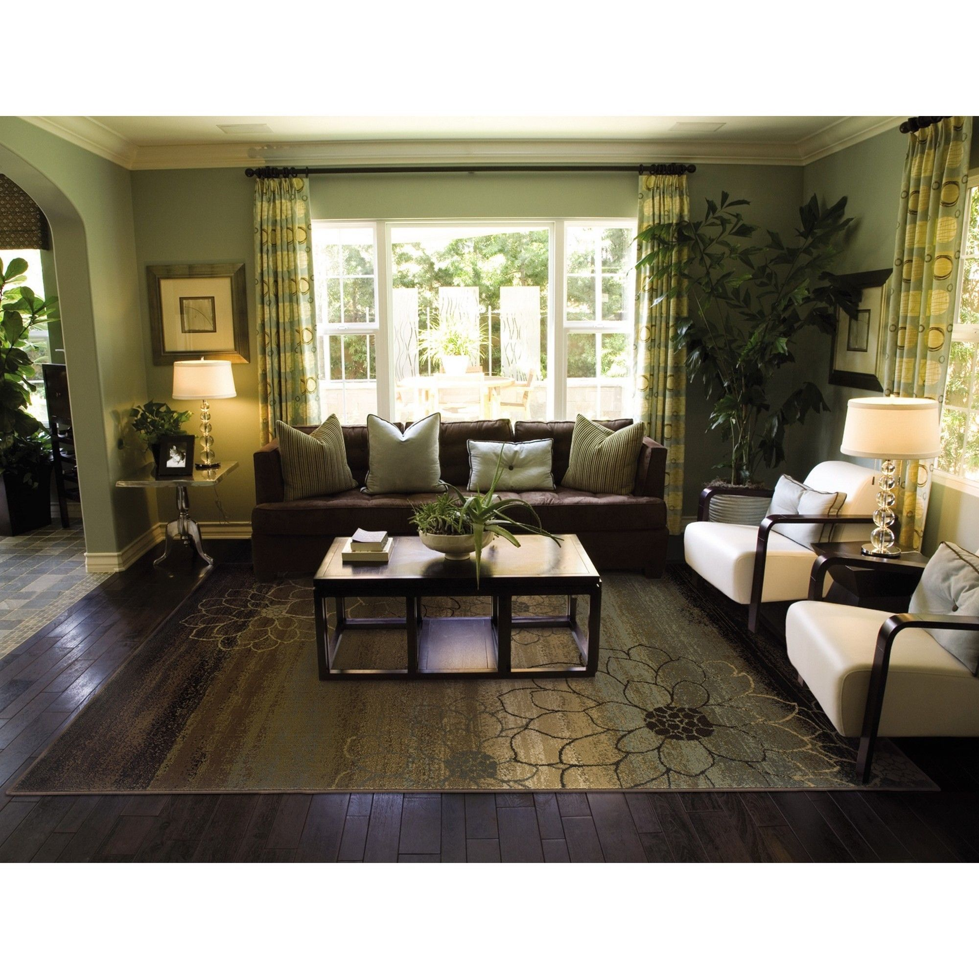 machine made blue brown gold rug 6 7 x 9 6 6 7 x 9 on small laundry room paint ideas with brown furniture colors id=90462