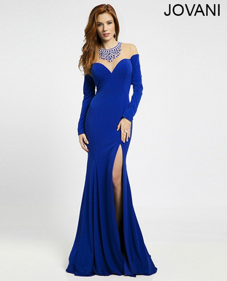 Long sleeves frame the trumpet flared silhouette of jovani