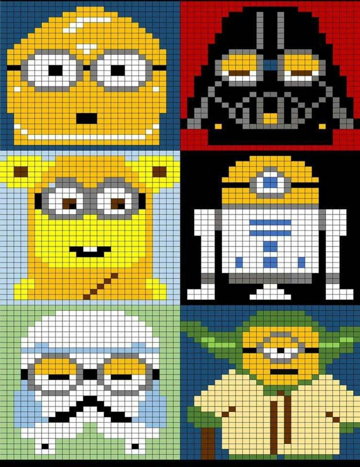 Minions Star Wars graph | baby | Pinterest | Stickvorlagen, Deckchen ...