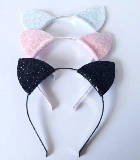 Black Silver Sequin Cat Ears Headband Cat Girl Cat Woman Costume Accessories