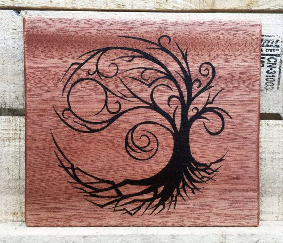 Wood Burned Tree Design Wall Hanging Wood Burning Art