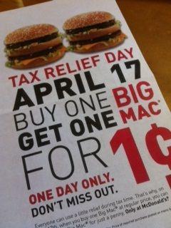 Mcdonalds Tax Day Freebie 4 17 Buy One Big Mac At Regular Price