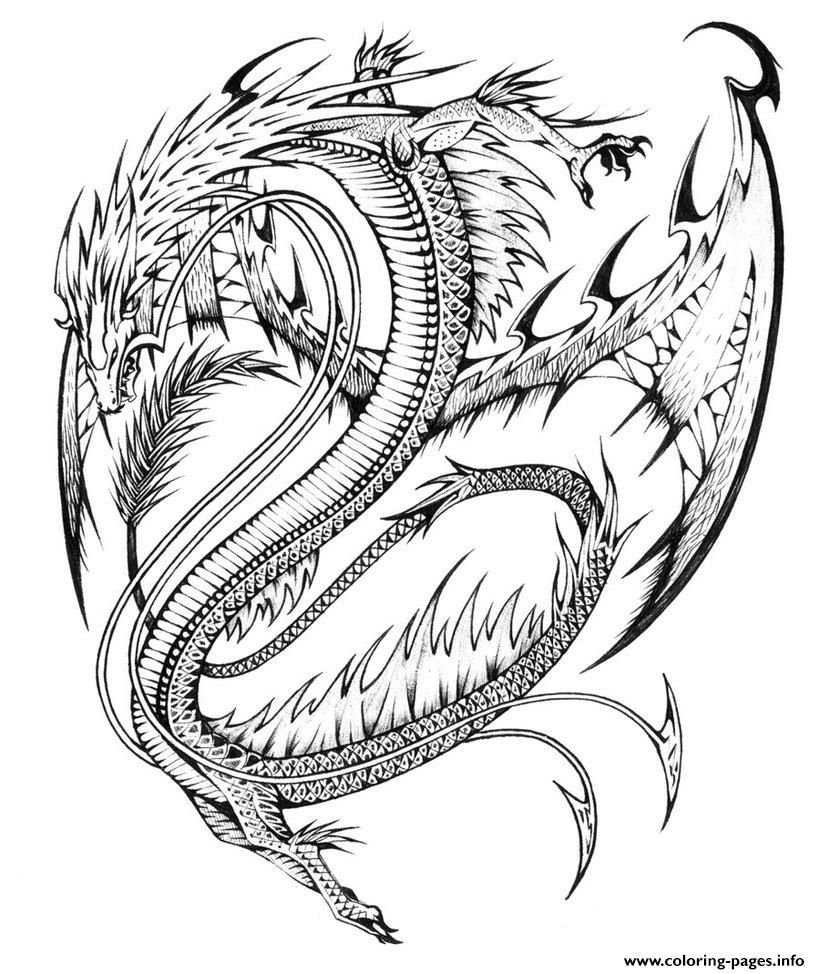 Print Adults Difficult Dragons Coloring Pages Dragon Coloring