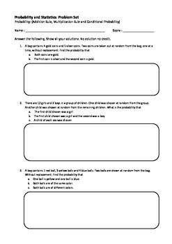 Probability Worksheet (add and mul rule, conditional probability ...
