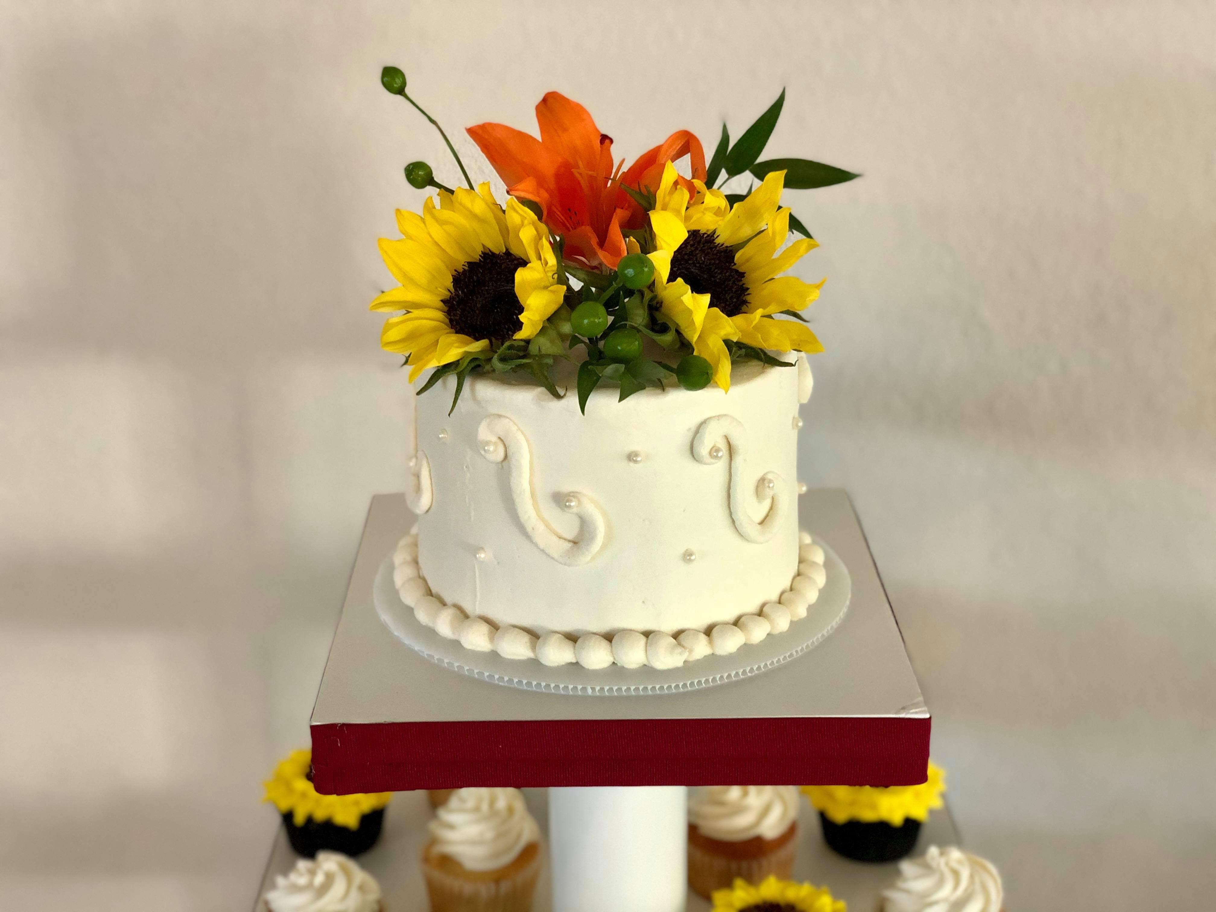 Sunflower and orange lily bridal wedding cake topper