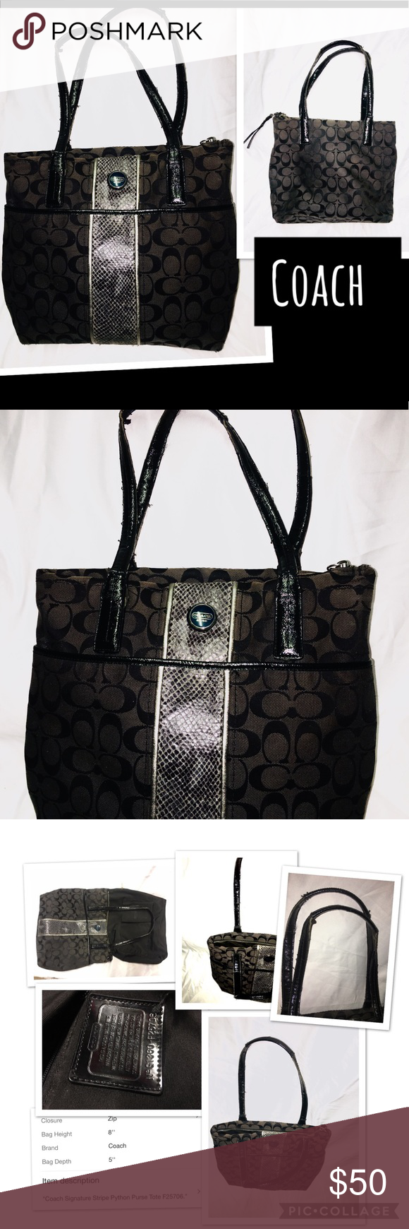 Coach tote signature c purse. This coach is a signature python striped  tote. Medium sized It has a zipper closure on top with 2 inside slide  pockets and ...