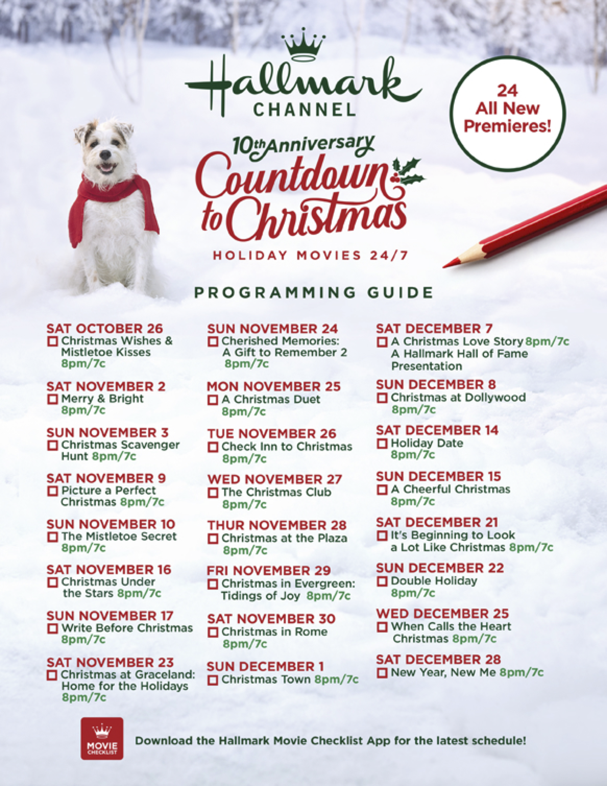It S Here Save This 10th Anniversary Of Countdown To Christmas Movie Guide And Never Miss A Premi Christmas Shows Hallmark Christmas Movies Hallmark Christmas
