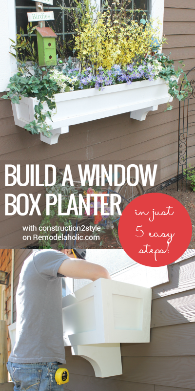 Build a window box planter in 5 easy steps! Add curb appeal and improve your home exterior with a beautiful window box and some greenery and flowers. Step by step from construction2style on Remodelaholic.com #plantersflowers