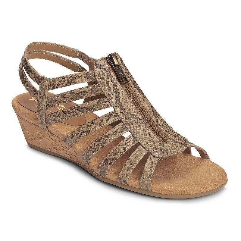 A2 by Aerosoles Yetaway Women's Zip-Up Wedge Sandals, Size: 7 Wide,