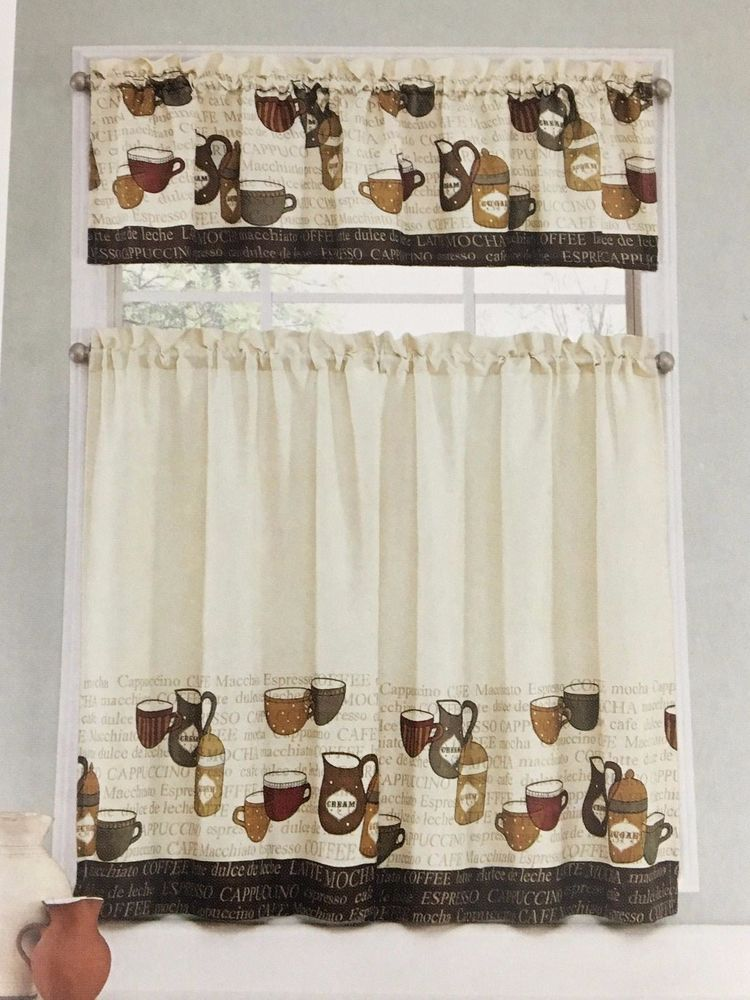 Kitchen Curtains Coffee Talk Tier Valance Set Cafe Earth Tone Cup Mug Dining 3pc Ellery Cafetierandvallence Kitchen Curtains Valance Curtains