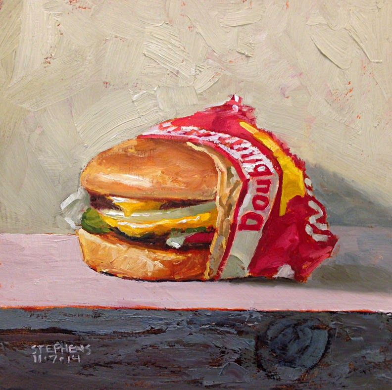Double Double , 7x7, Oil on hardboard panel by Craig