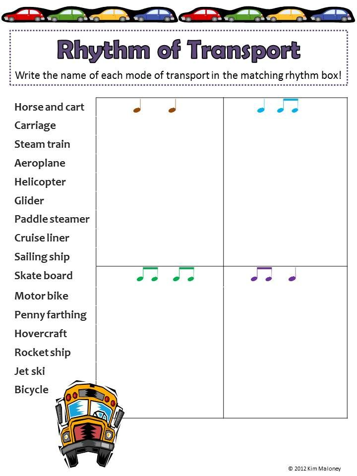 Rhythm Activity Sheets Match The Notation To The Words