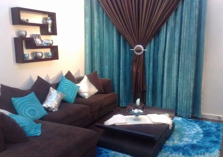 Chocolate Brown and Turquoise Living Room Idea Lovely ...