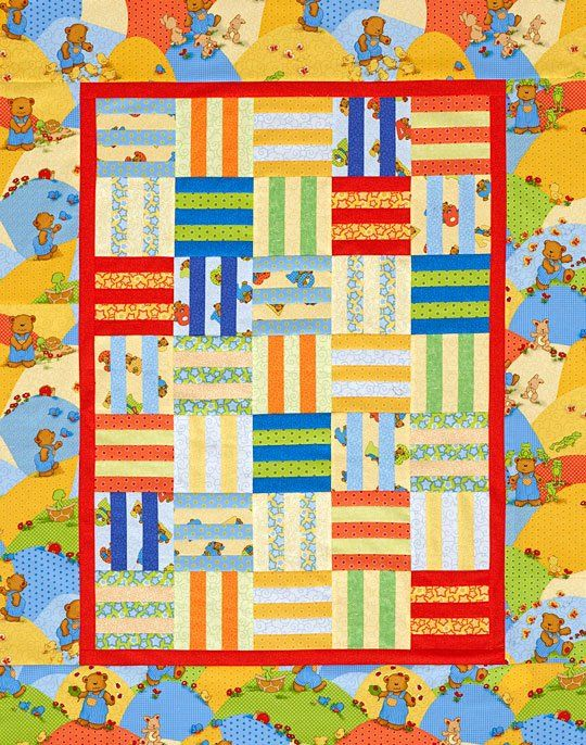 Combine light, medium, and dark prints to make a playful crib quilt of Rail  Fence blocks. Fabrics are from the Little Bear Counts by Linda Hohag and Bear  Essentials collections, both from P&B Textiles [1].   [1] http://www.pbtex.com