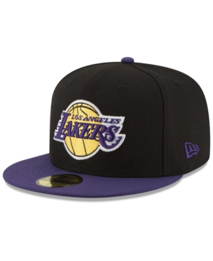 sports shoes b7df0 d90a6 New Era Los Angeles Lakers Basic 2 Tone 59FIFTY Fitted Cap - Black Purple 7  5 8