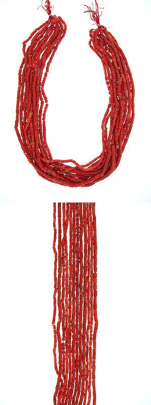 Shell Bone Coral 14317: 3 To 4Mm Real Natural Mediterranean Coral Tube Loose Beads 16Inch, 12 Strands BUY IT NOW ONLY: $220.0