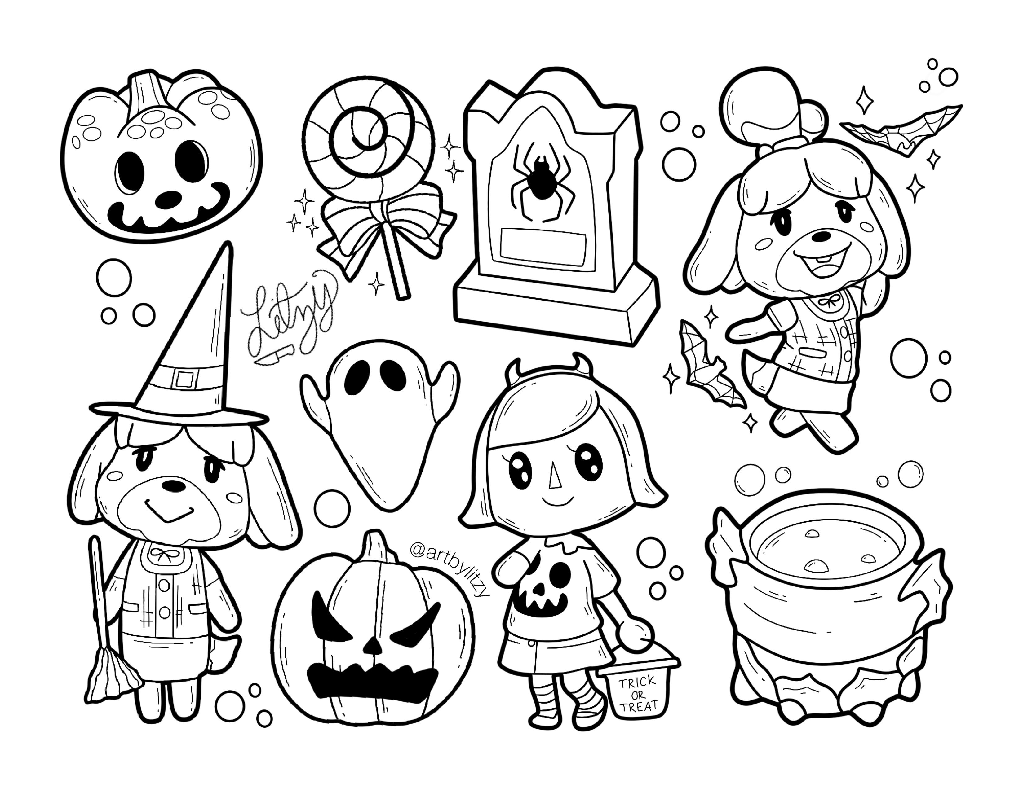 Animal Crossing Flash Ig Artbylitzy Halloween Tattoo Flash Animal Crossing Fan Art Halloween Tattoos