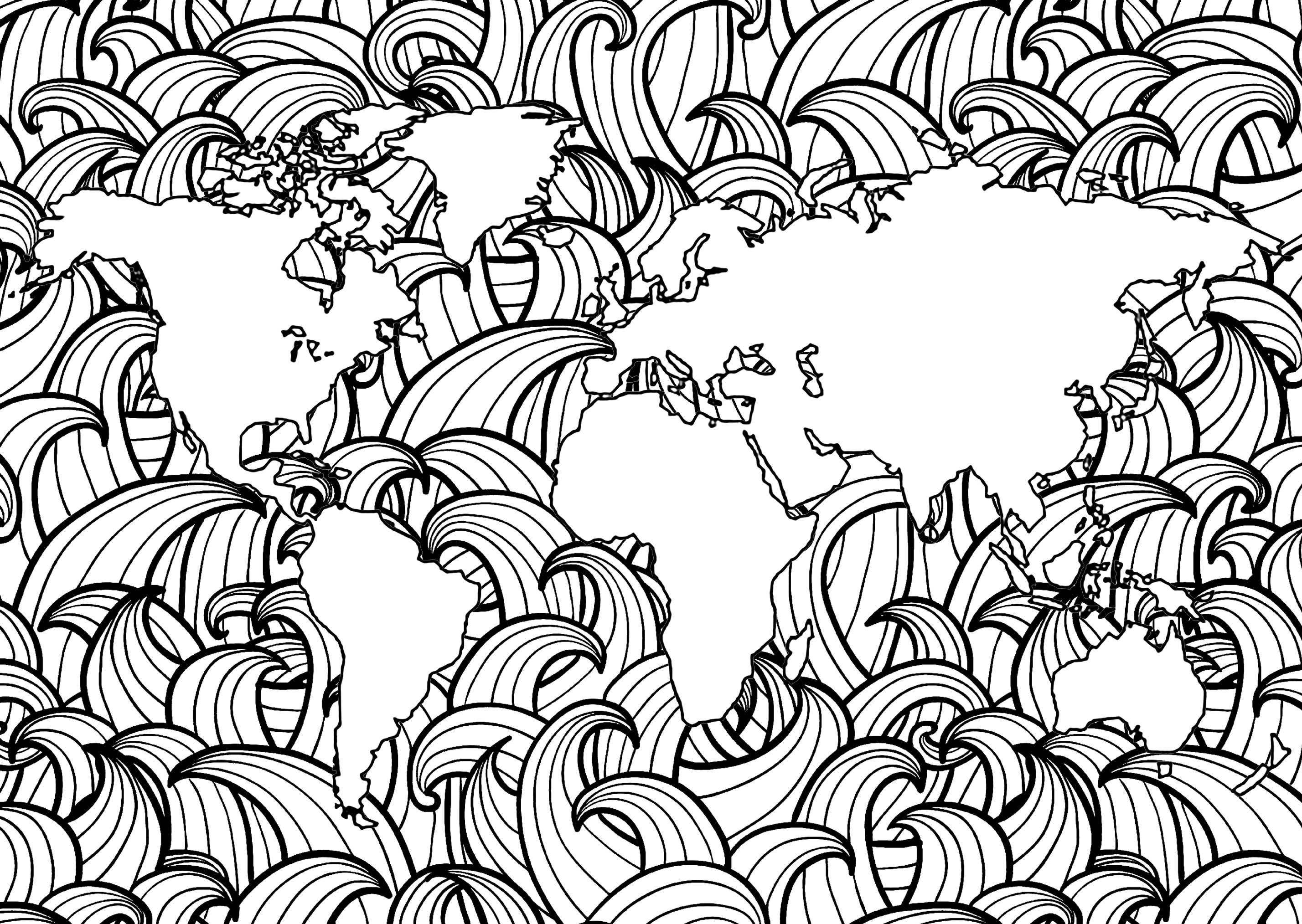 Earth With Waves Zen And Anti Stress Coloring Pages For Adults