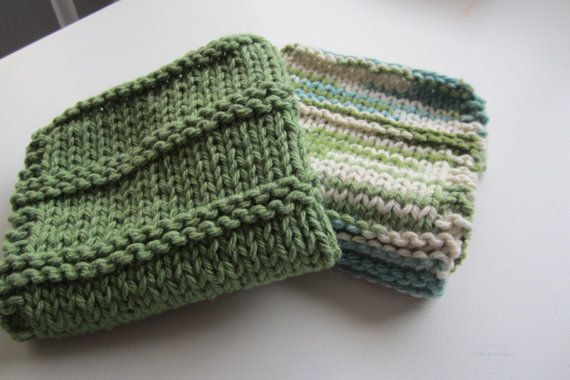 Knitted cotton dishcloths by BeadsNyarn on Etsy, $7.95
