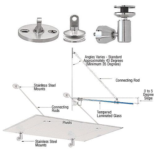 Crl Gas190bs Glass Awning Support System Mounting Kit Brushed Stainless Thebuilderssupply Com Laminated Glass Solar Panel Cost Climate Change Effects