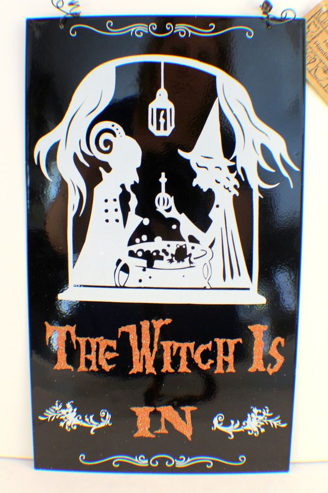 Magnetic Wall Decor details about halloween holiday the witch is in out magnetic