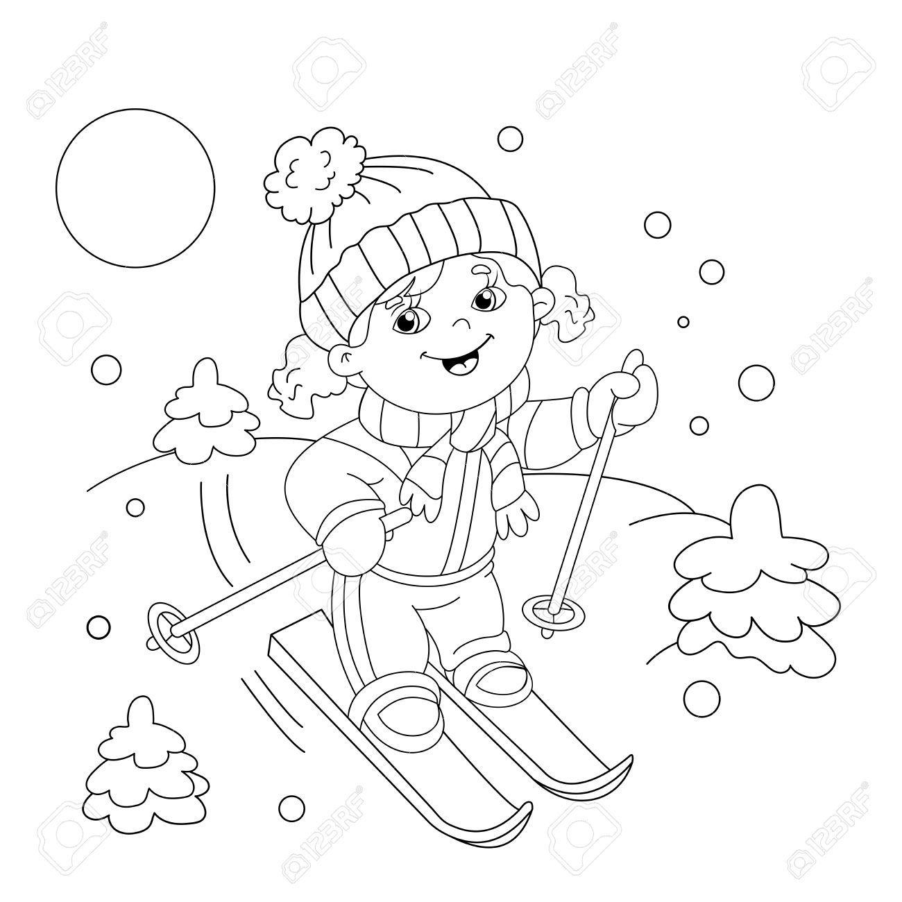 Pagina Para Colorear Esquema De Dibujos Animados Chica Cabalgando Sobre Esquis Deportes De Invierno Libro De Colorear Para Ninos Dibujos De Invierno Deportes De Invierno Dibujos