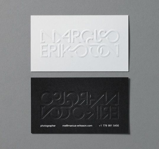 Blind embossed business card from vancouver bc based photographer blind embossed business card from vancouver bc based photographer and designer marcus eriksson for his reheart Image collections