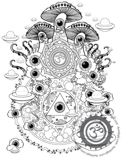 Psychedelic Mushroom American Hippy coloring page for adults Kleuren ...