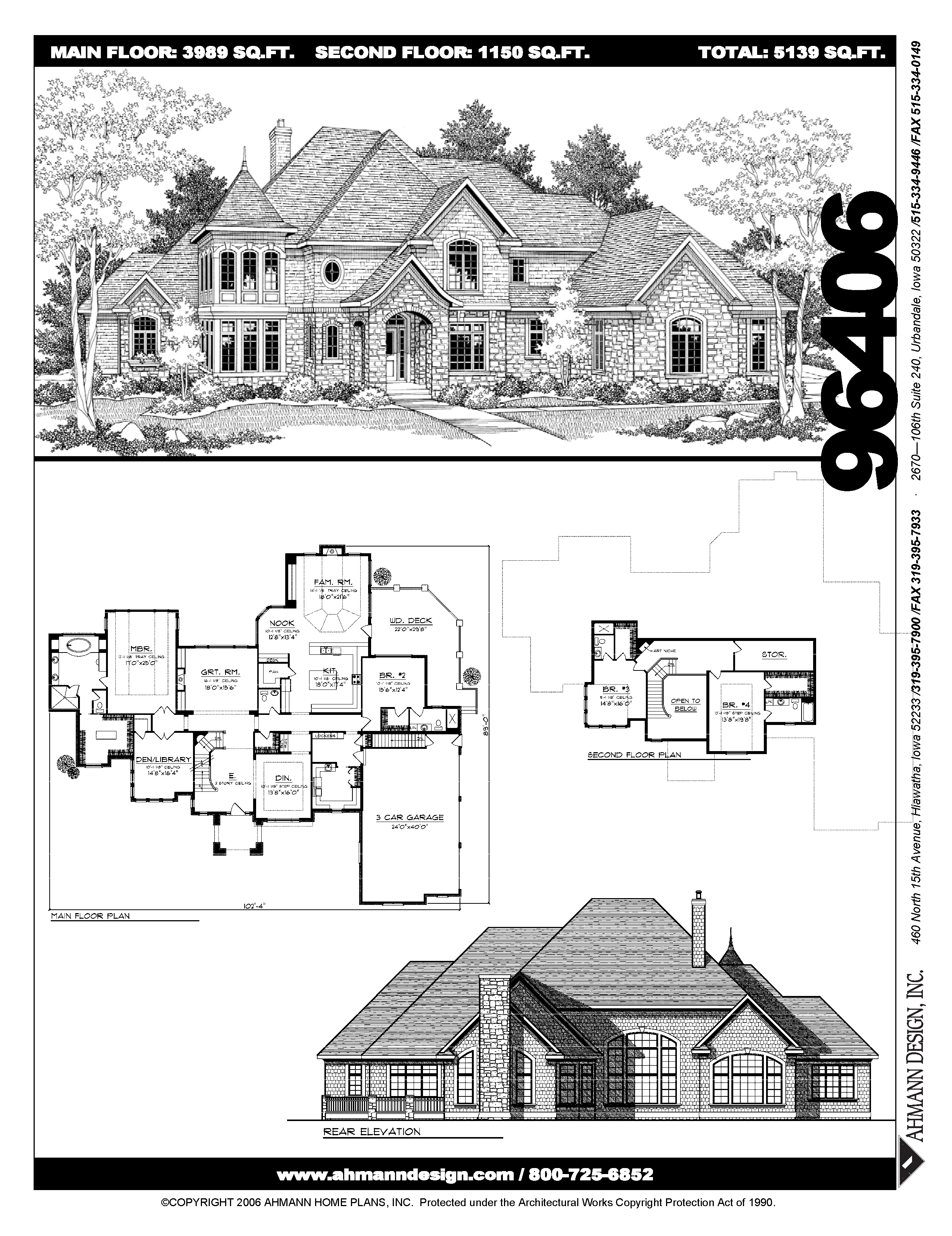 Ahmann Design Plan 96406 This Grand European Inspired Home Features Over 5 000 Square Feet Of Living Space The Two Story House Plans House Plans Floor Plans