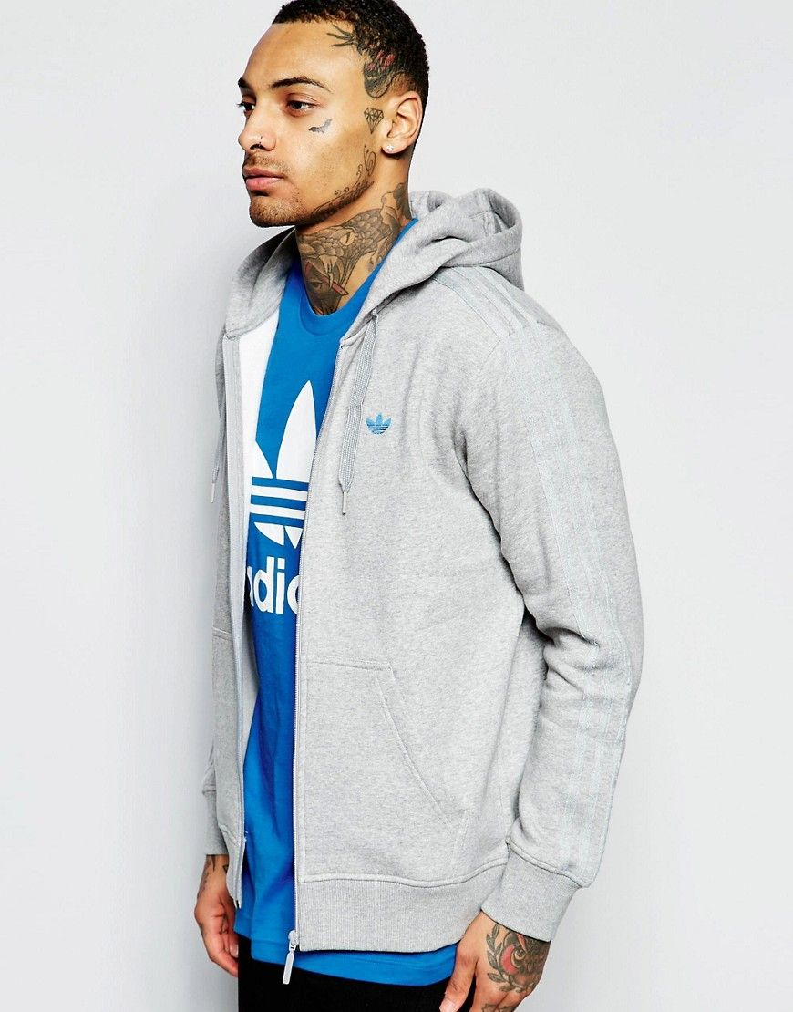 Image 1 Of Adidas Originals Zip Up Hoodie With Classic Trefoil