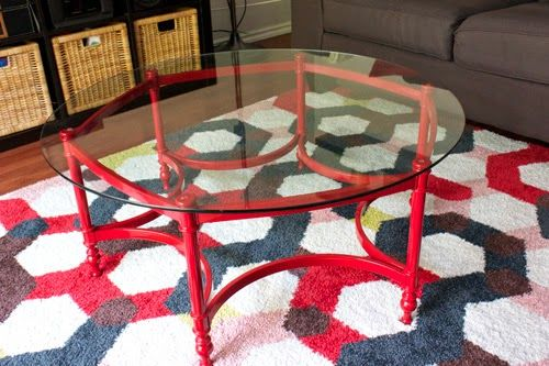 Visual Meringue How I Redid My Family Room For 10 Painted Coffee Tables Round Glass Table Family Room