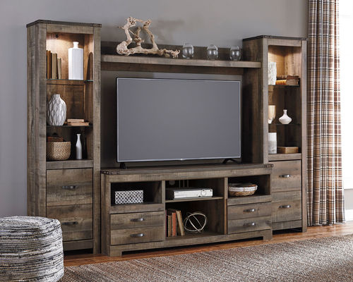 Trinell Center Large Tv Stand 2 Tall Piers Bridge