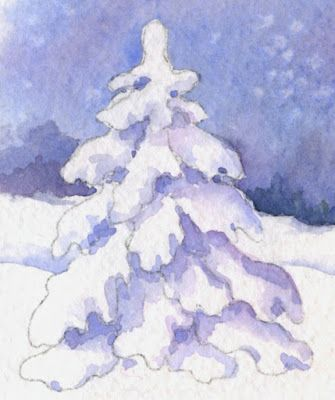 How to Paint a Snow-Covered Evergreen Tree - Technique #1 ...
