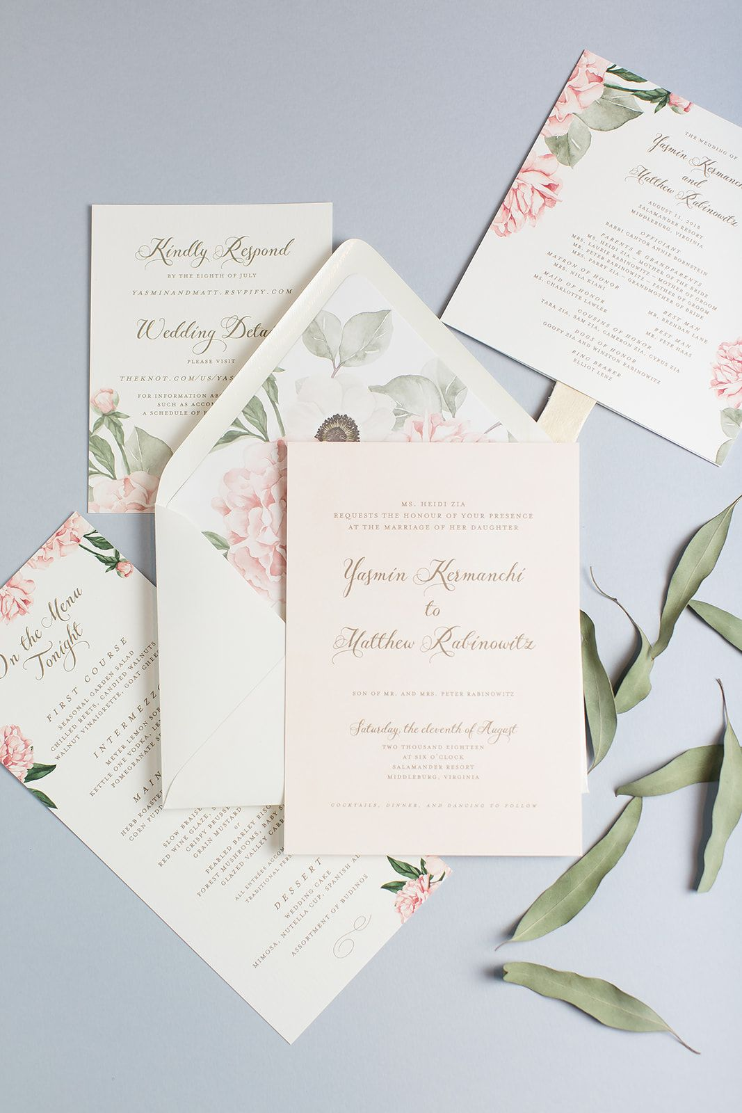 Yasmin Matthew S Blush Floral Invitations Peony Wedding