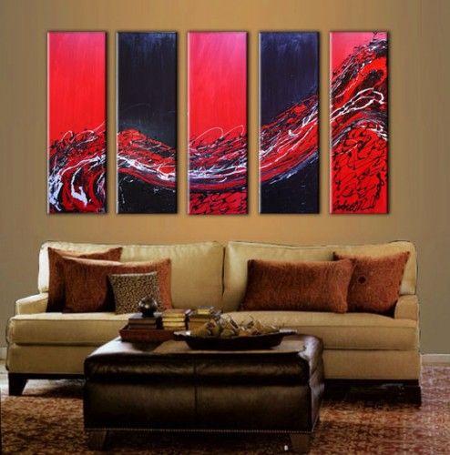 Quadri moderni con onde astratte dipinti a mano olio su