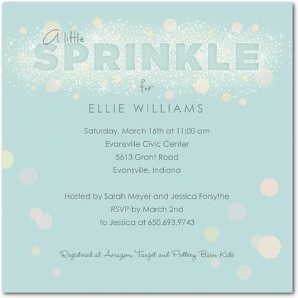 Little Sprinkle Sky Baby Shower Invitations in Sky – Hallmark Party Invitations