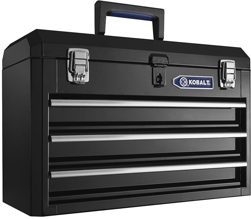 Gentil Kobalt 20.6 In 3 Drawer Black Steel Lockable Portable Tool Storage Box  #Kobalt