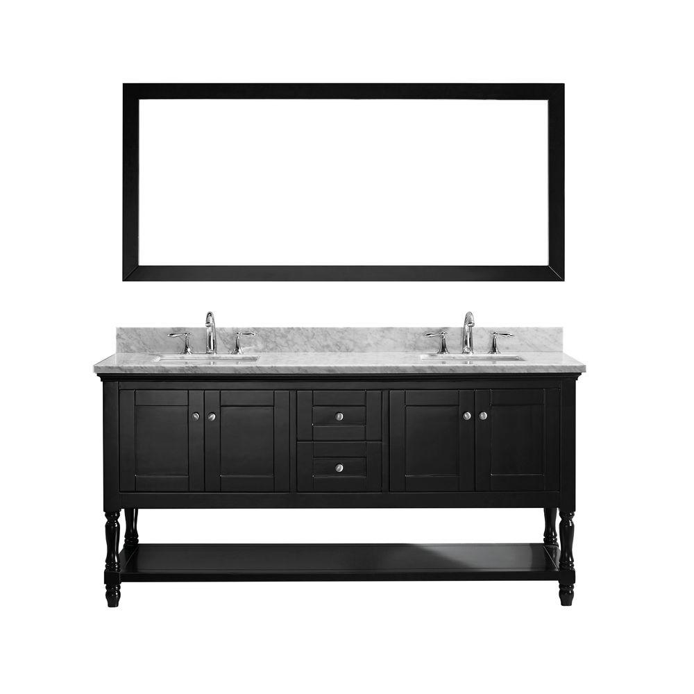 Virtu Usa Julianna 72 In W Bath Vanity In Espresso With Marble Vanity Top In White With Square Basin And Mirror Md 3172 Wmsq Es Double Vanity Square Sink Single Bathroom Vanity
