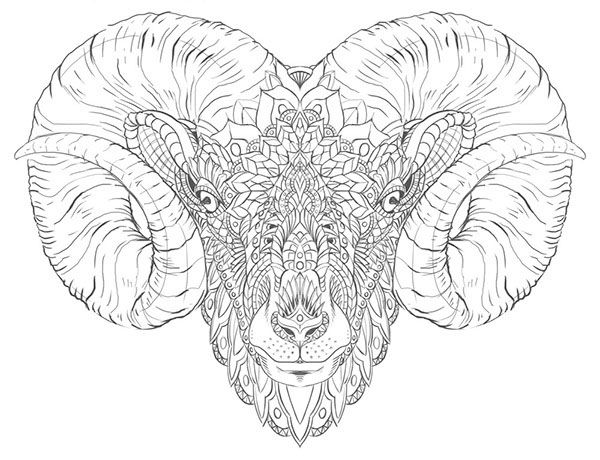 Ram Head Tattoo Design On Behance Totem Tattoo Animal Drawings