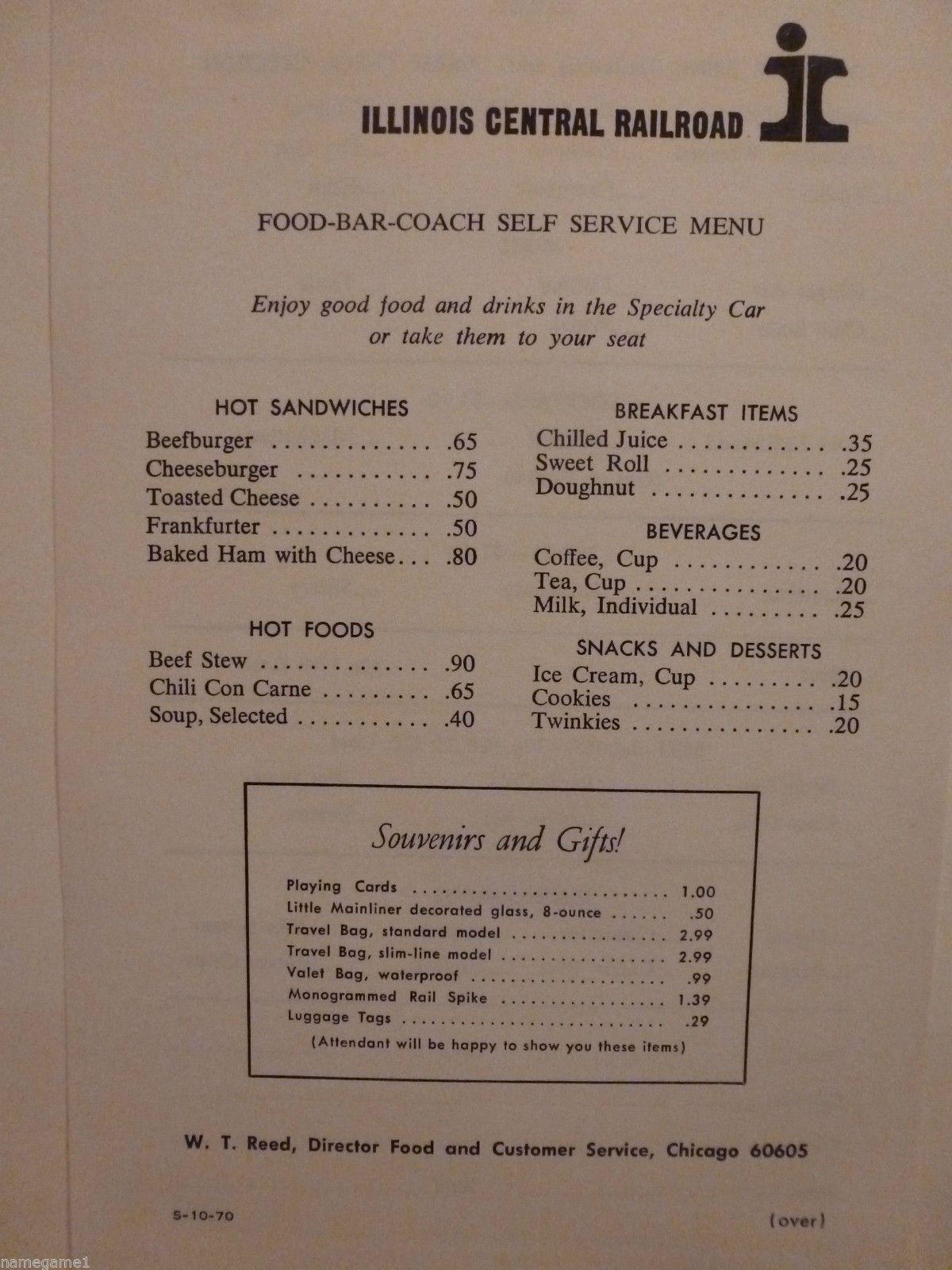 Railroad Menu Illinois Central Food Bar Coach Self Serve 1970 Central Food Bars Recipes Illinois