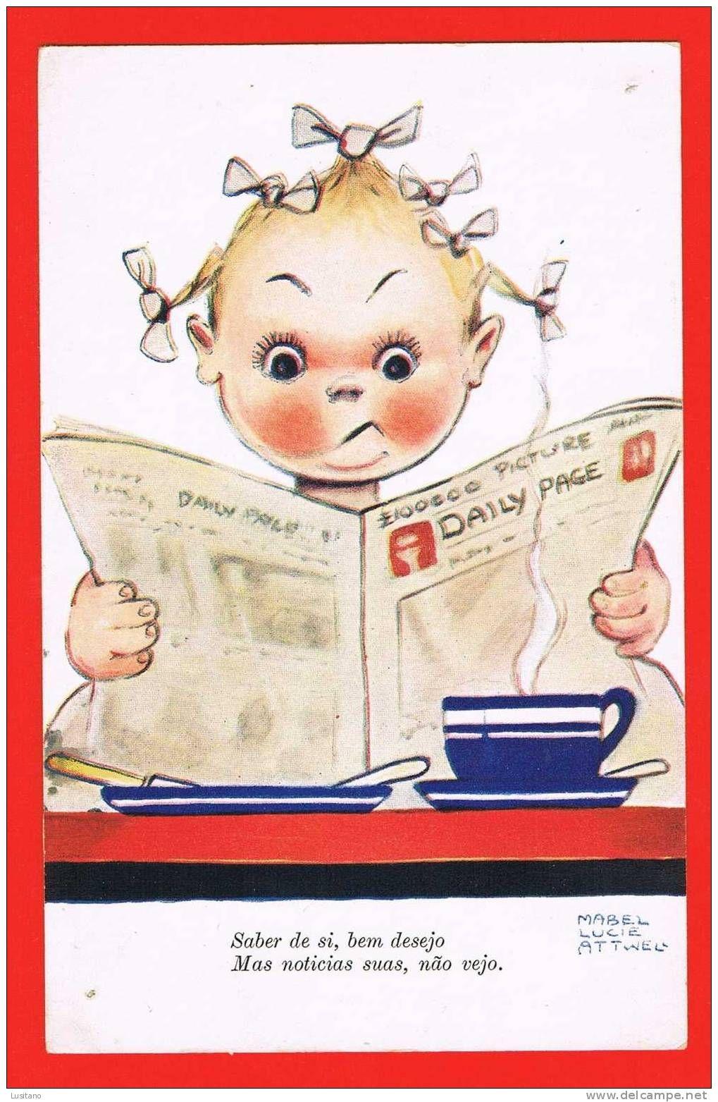 Mabel Lucie Attwell card( reminds me of Wiske by studio Willy Vandersteen)