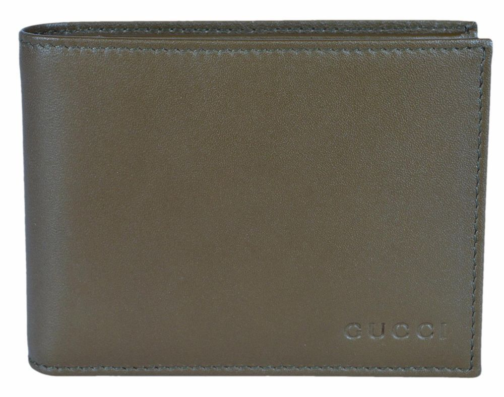 53ed0ef0a57 NEW Gucci 278596 Men s Olive Green Calf Leather Embossed Logo Bifold Wallet   Gucci  Bifold