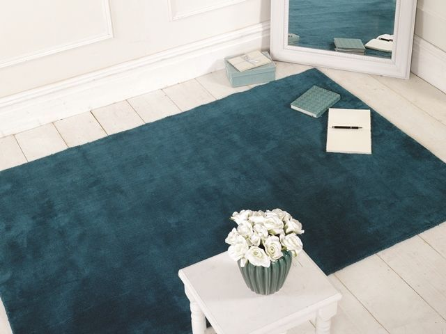 Cheap Thick Modern Simple Solid Teal Mat Non Shed 100 Cotton Luxurious Area Rug Plain Rugs Rugs Uk Teal Rug