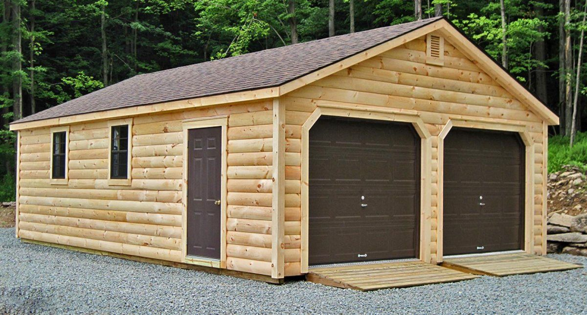 Fetching 2 car prefab garages with garage kits lowes and for Lowes cabins kits