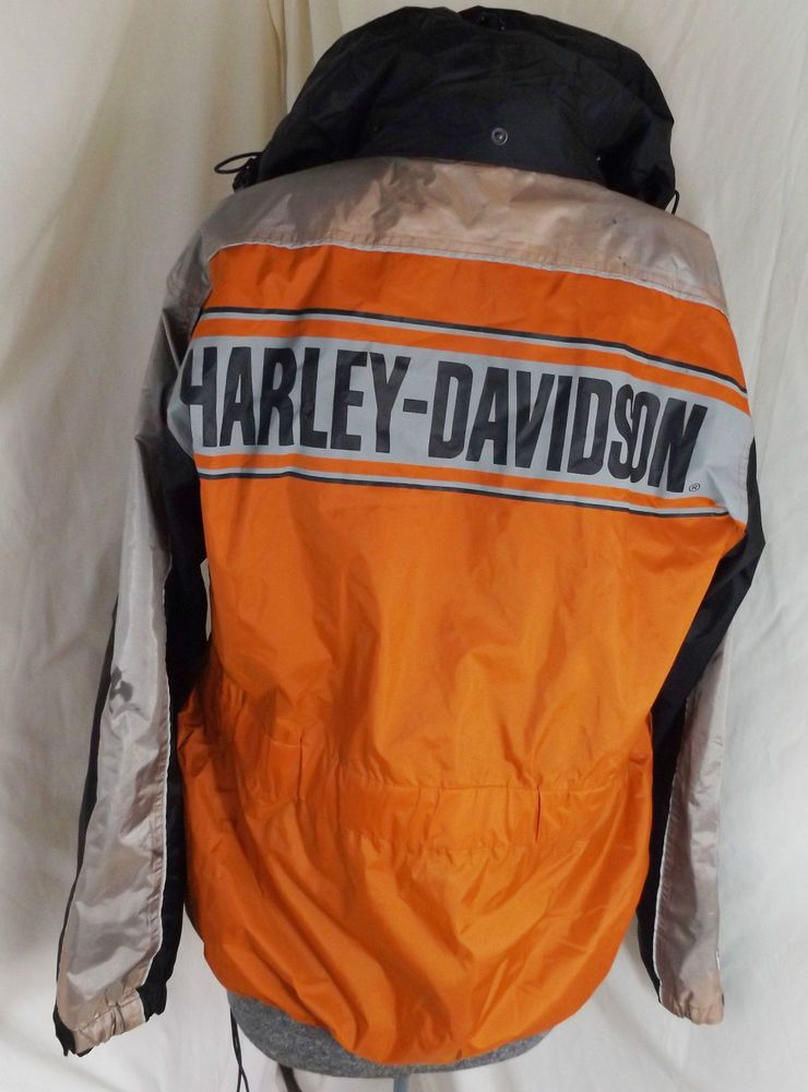 Harley Davidson L Motorcycle Rainjacket Velcro Zip Hood Biker Harley Jacket 2 Harleydavidson Motorcycle With Images Harley Jacket Jackets Men S Coats Jackets