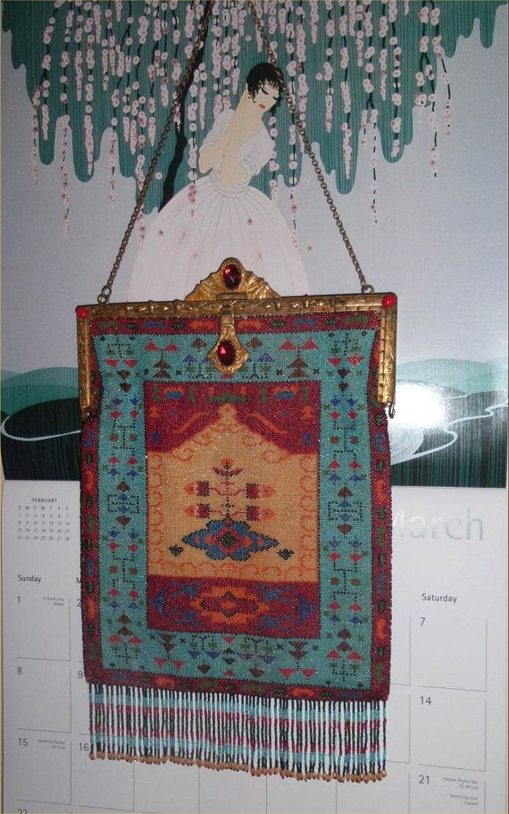 Posh PERSIAN or INDIAN Carpet Antique Micro Beaded Bag w/ JEWELED Frame & Fab Fringe--1900s Vintage Seed Bead Purse