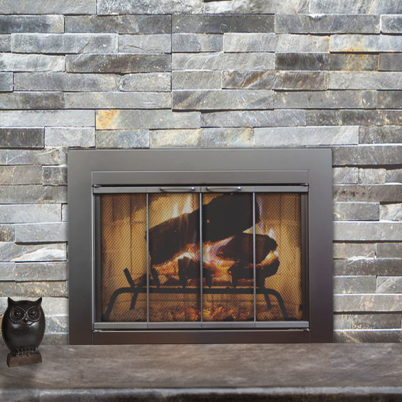 fremont masonry fireplace door in satin black fireplace doors bi fold doors and doors. Black Bedroom Furniture Sets. Home Design Ideas