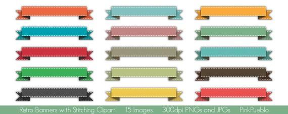 Banners Clip Art Clipart, Retro Banners Clip Art Clipart, Banners with Stitching - Commercial and Pe #clipartfreebies