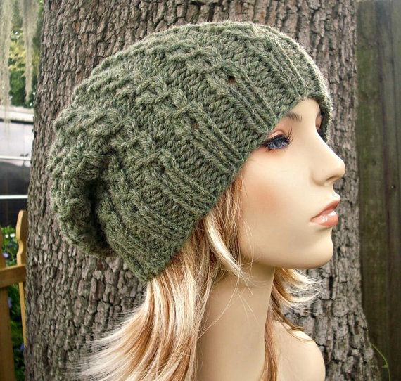 ebf1b0f72b9 Knit Hat Womens Hat Slouchy Beanie Eyelet Cable by pixiebell
